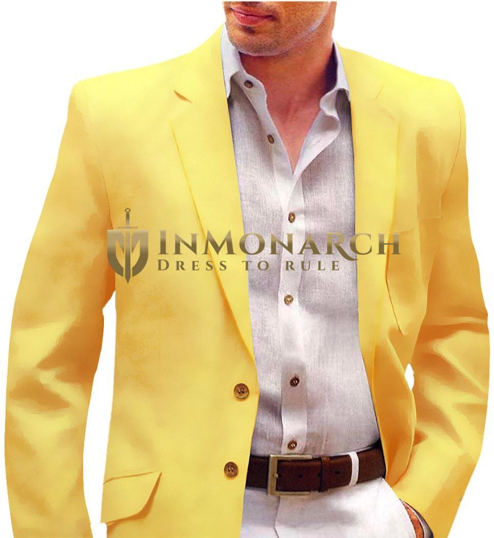 Yellow Mens Velvet Sport Coat Suit Jacket