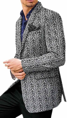 Black Threaded White Mens Velvet Sport Coat