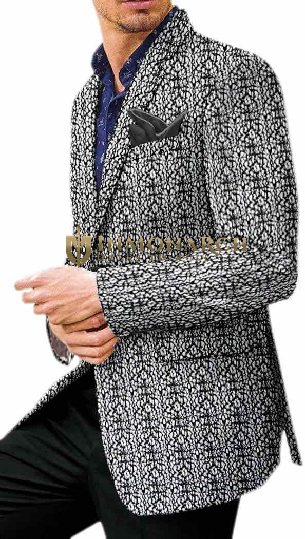 Black Threaded White Mens Velvet Sport Coat