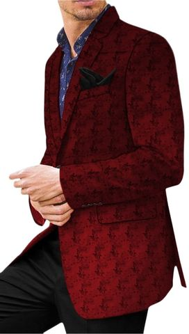 Red Mens Casual Printed Velvet Sport Jacket