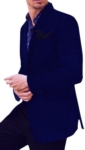 Royal Blue Mens Slim Fit Velvet Blazer