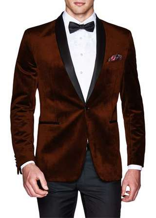 Brown Mens Velvet Sport Jacket