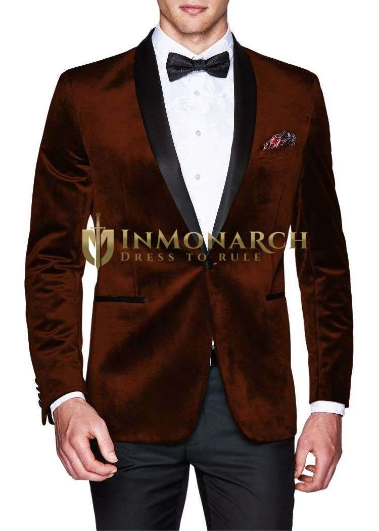 Mens Wine Velvet Sport Jacket Coat