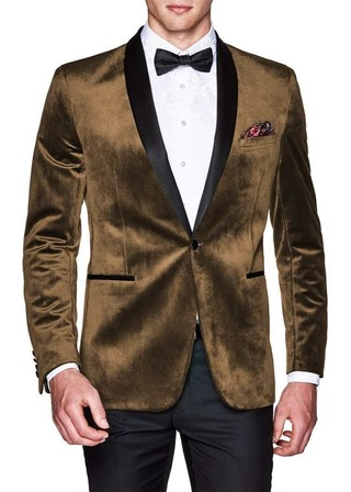 Brown Mens Slim Fit | Casual Velvet Blazer | Sport Jacket | Coat