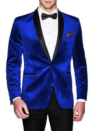 Blue Mens Slim fit Casual Velvet Blazer | Sport Jacket | coat