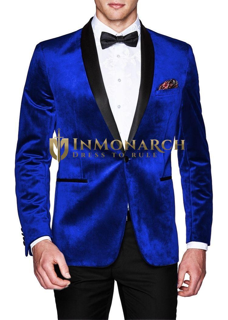 Blue Mens Slim fit Casual Velvet Blazer | Sport Jacket | coat