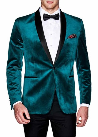 Teal Mens Velvet Blazer Sport Jacket Coat