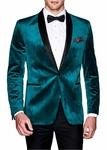 Teal Mens Velvet Blazer Sport Jacket Coat