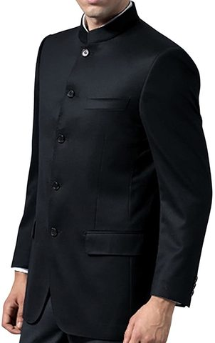 Black Mens Indian Traditional Nehru Suit