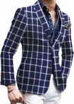 Mens Slim fit Checks Navy Blue sport jacket coat