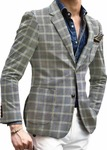 Men's Slim Fit Grey Plaids & Checks Two Button Sportcoat Blazer