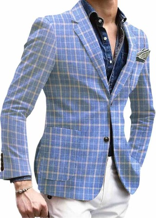 Men's Slim Fit Sky-blue Plaids & Checks Two Button Sportcoat Blazer