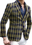 Men's Slim Fit Black Plaids & Checks Two Button Sportcoat Blazer