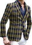 Men's Slim Fit Black Plaids & Checks Two Button Sportcoat Blazer