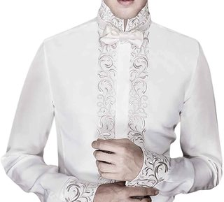 Mens Royal Look Cream Embroidered Shirt