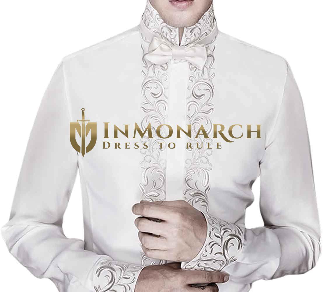 Mens Royal Look Cream Embroidered Shirt