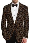 Black Mens Sports Coat In Jacquard Fabric