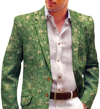 Green Embroidered Mens Blazer | Wedding Jacket