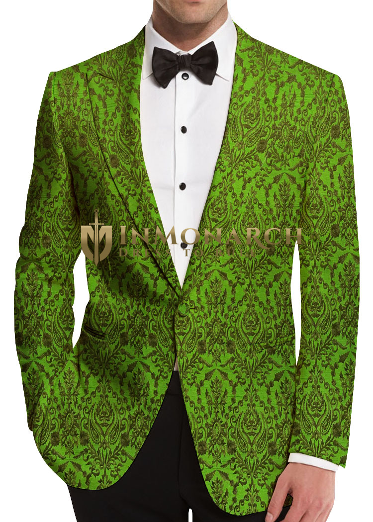 Green Mens Blazer with Embroided Floral Motifs