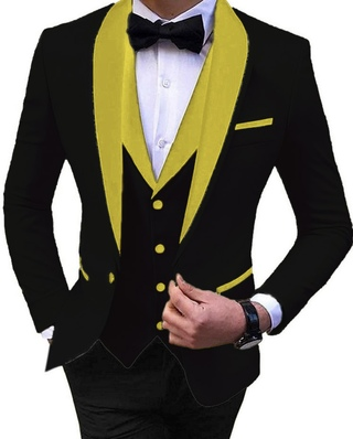 Black Color 6pc Tuxedo Suit