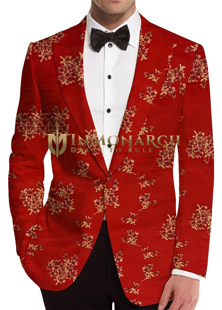 Embroidered Red Mens Sports Coat