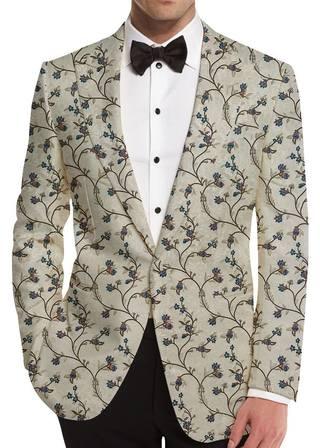 Cream Floral Motif Mens Blazer