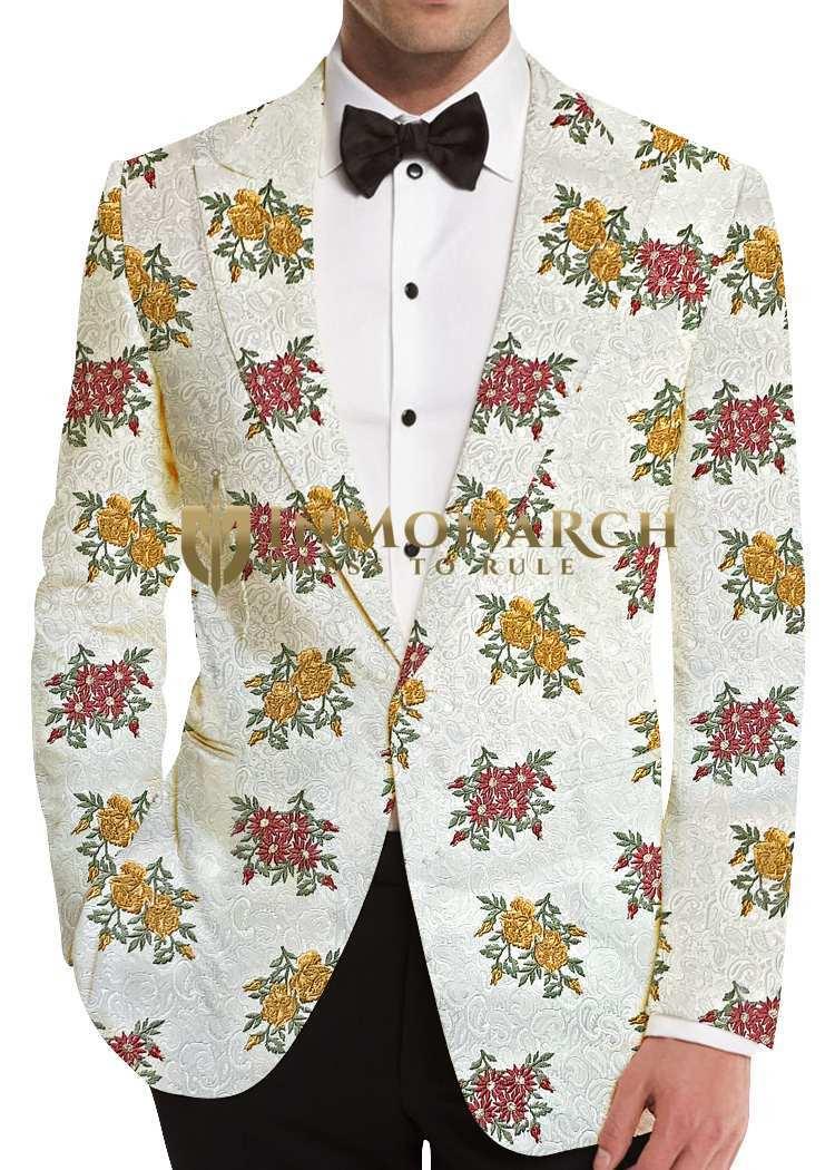 Cream Floral Motif Sport Jacket