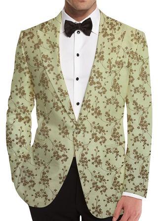 Cream Embroidered Slim fit Sport Jacket Blazer