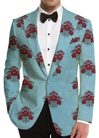 Pool Blue Floral Embroidered Slim-Fit Blazer