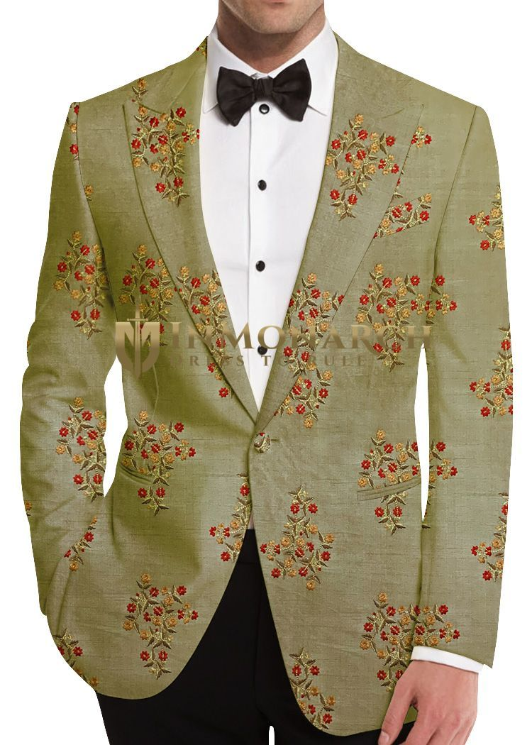 Green Mens Floral Blazer for party
