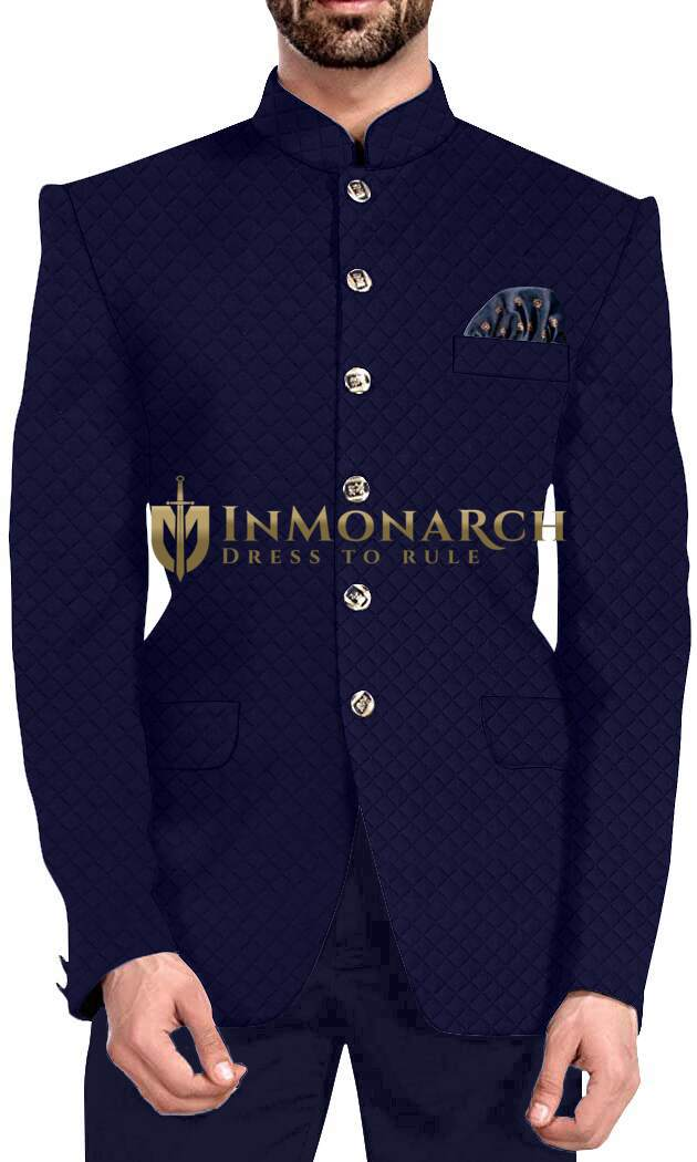 Mens Navy Blue 3 Pc Jodhpuri Suit 6 Button