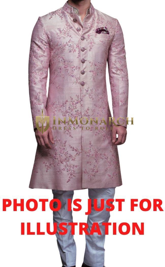 Baby Pink Raw Silk Elegant Mens Sherwani with White Cotton Breeches