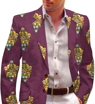 Purple Wine Embroidered sport jacket coat Shawl Collar Mens Blazer