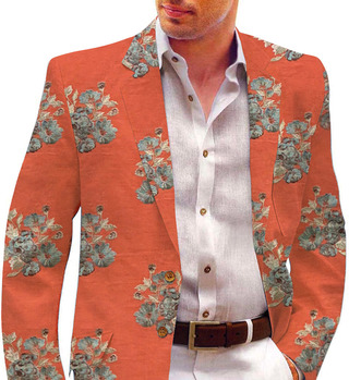 Mens Shawl Collar Slim fit Embroidered Red Blazer sport jacket Coat