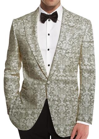 White Embroidered Slim Fit Mens Shawl Collar Blazer sport jacket