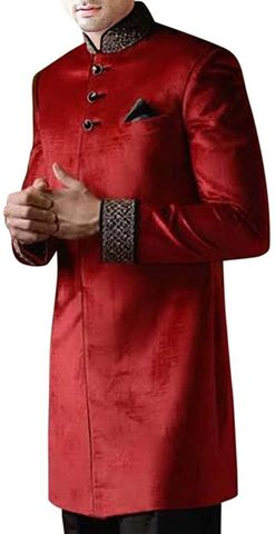Red Indian Wedding Sherwani for Men