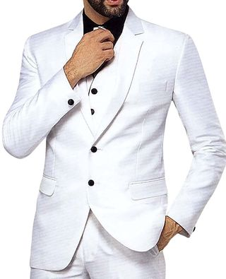 Mens White 5 Pc Tuxedo Suit Classic Two Button