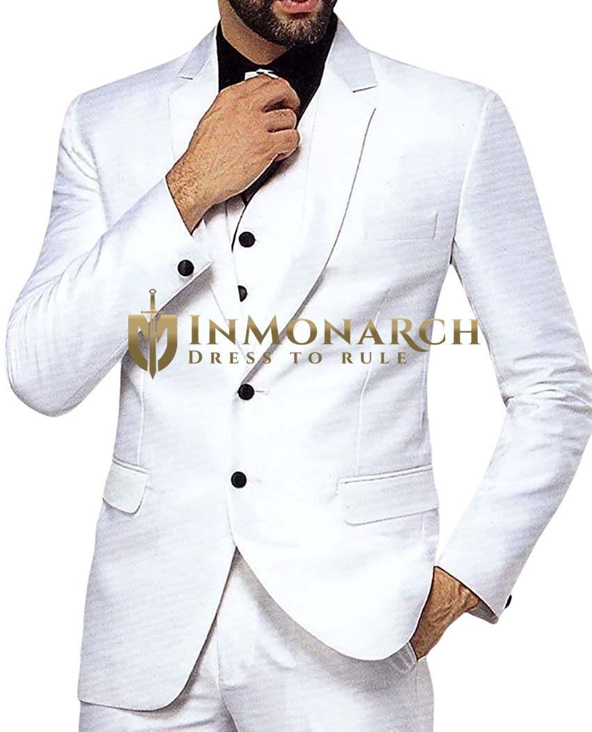 Mens White 5 Pc Tuxedo Suit Classic Two Button