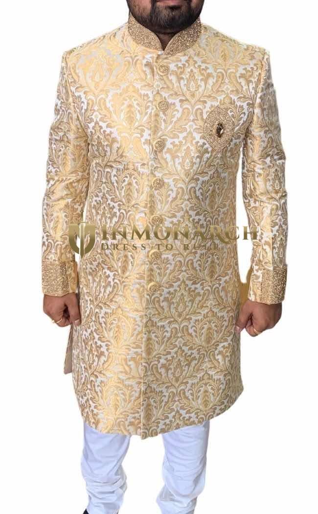 Cream Golden Mens Indo Western Suit for Groom