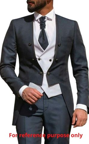 Charcoal Gray polyester-viscose 5pc suit for the royal ceremony