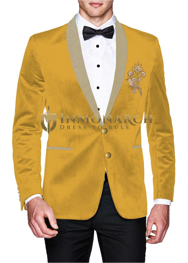 Mens Velvet marigold Blazer Sport Jacket Coat Embroidered