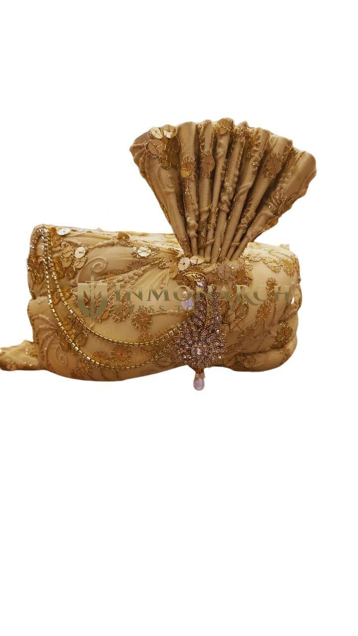 Brocade Golden Turban Pagari Safa Hat for Groom