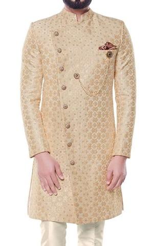 Beige Sherwani for Men Indian Clothing Embellished with Floral Motifs
