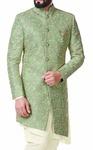 Green Men Indian Clothing Sherwani Embellished with Floral Motifs