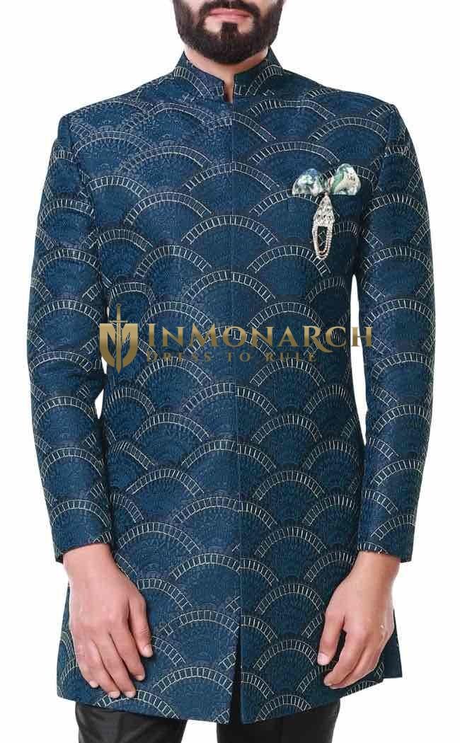 Blue Mens Designer Sherwani