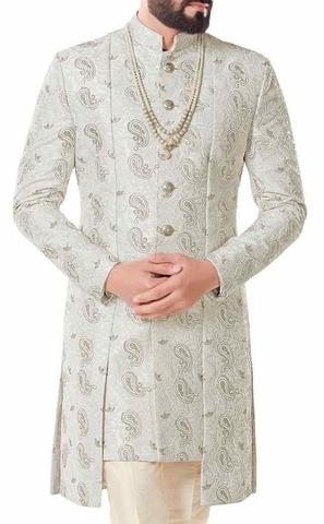 Ivory Mens Indian Designer Wedding Sherwani