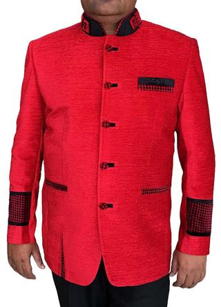 Mens Crimson 2 Pc Jodhpuri Suit Good Looking 5 Button